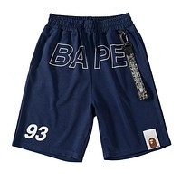 BAPE AAPE Newest Fashionable Men Casual Print Sports Running Beach Shorts Blue