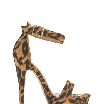 Just Spotted Leopard Ankle Strap Heels