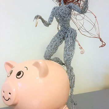 Tooth Fairy Unique fantasy wire sculpture Magic Fairytale Love Enchanted kid gift OOAK funny steel art piggy bank box Home Decor statue gift