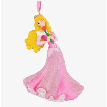 Disney Parks Aurora with Rose 3D Glitter Christmas Ornament New with Tags