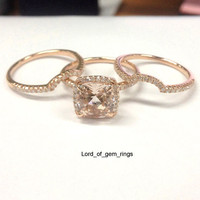 Cushion Morganite Engagement Ring Trio Sets Diamond Wedding 14K Rose Gold 8mm