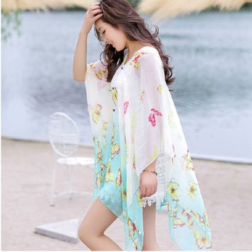 women Summer sunscreen veil Scarf silk Shawl, long large oversized print mantillas scarves,  lady's sexy air conditioning beach