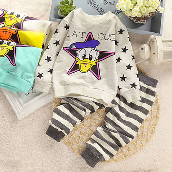 Baby Girl Cotton spring unisex suits / tops+pants 2pcs set