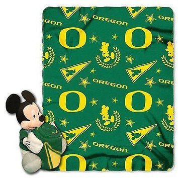 Oregon Ducks NCAA Mickey Mouse Throw and Hugger Pillow Set