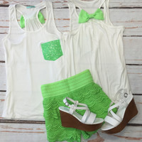 Sequin Bow Back Tank: Lime