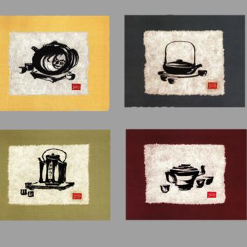 Modern art oil painting printed. Unframed, 4 panel abstract Chinese pot still life.