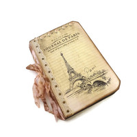 Paris Journal, Cottage Chic, Eiffel Tower, Pale Pink, Travel Journal, Lace, French, Paris Gift, Romantic, Wedding Guest Book, MADE TO ORDER