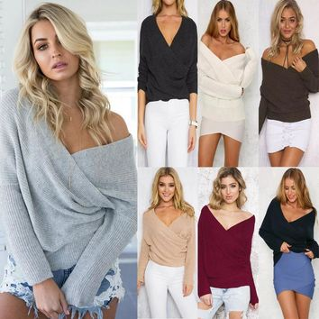 Pullover Knit Tops V-neck Sweater [22395387930]