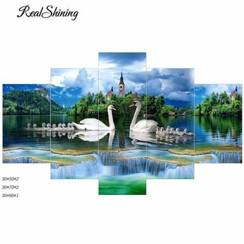 5D Diamond Painting Swans and Cygnets 5 Panel Kit