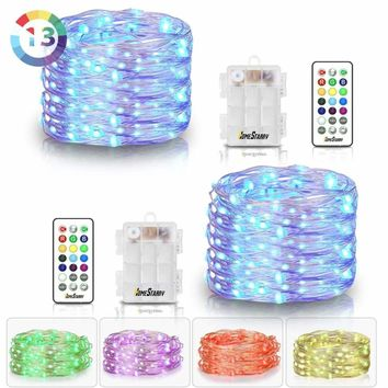 2 Pack Hometarry LED String Lights,Battery Operated Lights Multi Color Changing String Lights Remote Control Waterproof 50LED 16.4ft Indoor Decorative Silver Wire Lights for Bedroom, Easter Lights