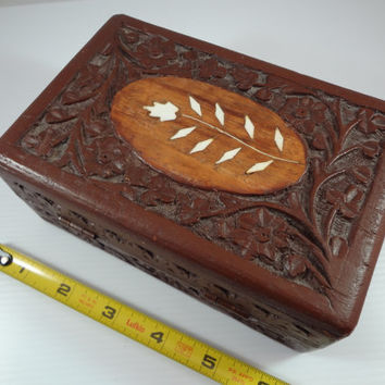 Wooden Box, Small Hand Carved, l970's