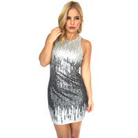 Dripping In Silver Ombré Sequin Dress