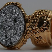 DRUZY STYLE KNUCKLE ART STATEMENT RING WOMEN METALLIC SILVER GOLD ARTY CHUNKY