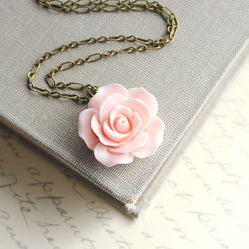 Pink Rose Necklace Flower Pendant Floral by apocketofposies
