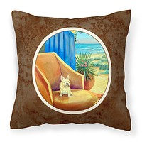 French Bulldog at the beach cottage Fabric Decorative Pillow 7181PW1414