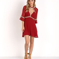 For Love & Lemons Lillie Mini Dress Merlot