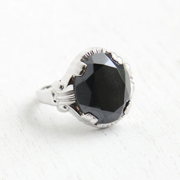 Vintage Sterling Silver Hematite Stone Ring - Hallmarked Clark and Coombs Size 7 Shiny Gray Stone Jewelry