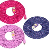 10 Ft Top Quality Nylon Cloth Jacketed Tangle-Free USB 2.0 to 8 Pin Apple Lightning Cable for iPhone 6, 6Plus, 5, 5c ,5s, iPad 4, iPad mini, iPod nano 7, iPod 5G(purple+pink+hot pink)