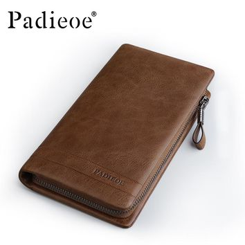Vintage Style Cow Leather Mens Clutch Bag Genuine Leather Clutch Wallet  Zipper Male Purse Long Wallet Mens Clutch