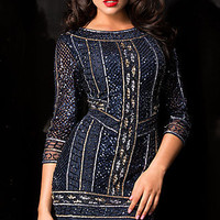 Short Sequin Dress with Sleeves by Scala
