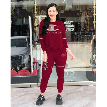 Champion Newest Popular Women Casual Diamond Logo Zipper Top Pants Set Two-Piece Sportswear Burgundy