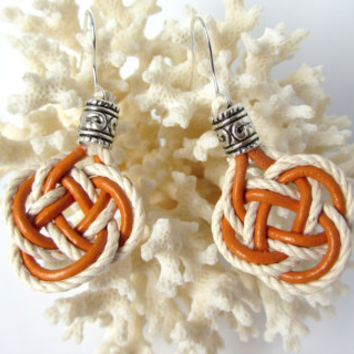 Celtic Knot Earrings Good Luck Double Coin or Josephine Knot Hand Tied Dangle in Pumpkin Leather Cord and Cotton Twine