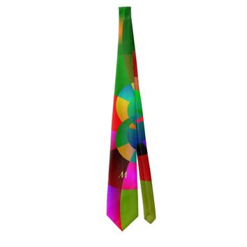 Abstract Cool Cute Fractal Neon Psychedelic Neck Tie
