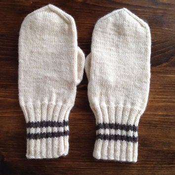 Hand Knitted Mittens 100% off white wool  Warm and cozy Ready to Ship winter gift women accessories