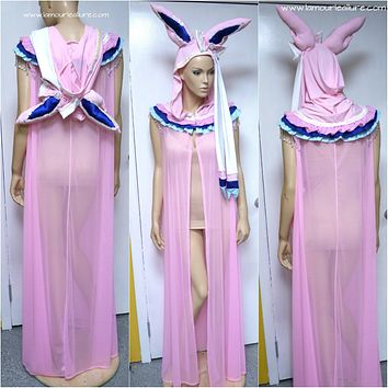 Sylveon Pokemon Ear Cape Robe Cosplay Dance Costume Rave Bra Rave Wear Halloween Burlesque Show Girl