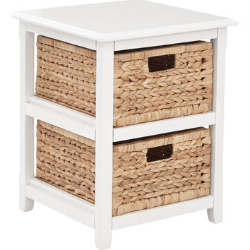 Office Star Seabrook Two-Tier Storage Unit With White Finish and Natural Baskets [SBK4512A-WH]