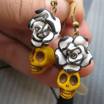 earrings---black with white resin rose&3D yellow rammel skull