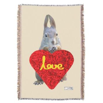 Heart Just Because Love Greeting by Kat Worth Throw Blanket