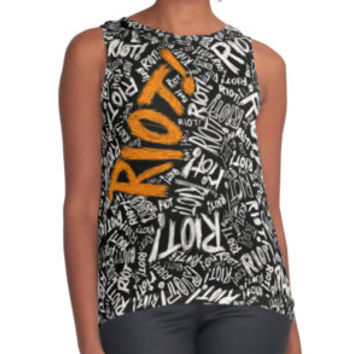 'RIOT! ' Contrast Tank by orkille