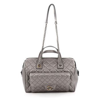 Chanel Pre-Owned: Two-Tone Front Pocket Bowling Bag Quilted Metallic Calfskin Medium | Bluefly.Com