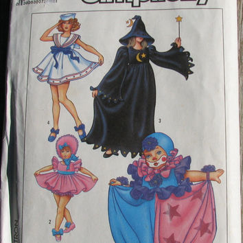 Simplicity 8834, size 6-8, Clown, Baby Doll, Witch and Sailor costumes, uncut vintage pattern