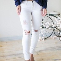 Not All Who Wander- White Distressed Skinny Jeans