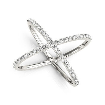 14kt Gold Diamond Criss Cross X Ring, 14K  White Diamond Ring, Criss Cross Ring