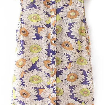 Blue and Yellow Floral Sleeveless Blouse