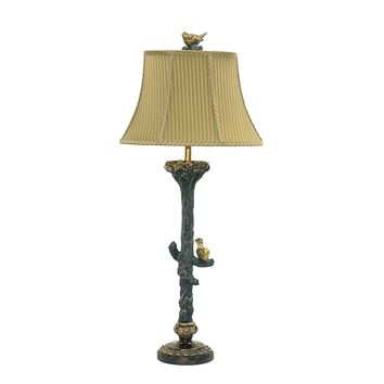 93-028 Bird On Branch Table Lamp in Black and Gold Leaf - Free Shipping!