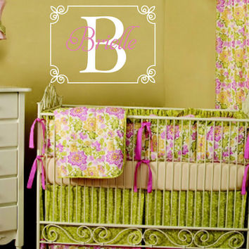 Personalized Vinyl Initial & Name Wall Decal - Shabby Chic Scroll Border Baby Girl Nursery Monogram Toddler Teen Room 22H x 30W GN014