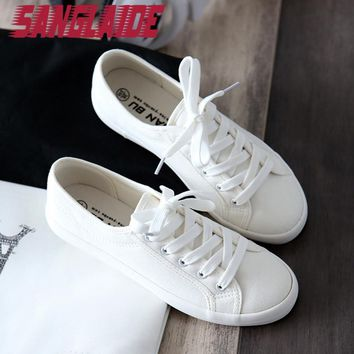 SANGLAIDE 2016 New Autumn Summer Solid Color Low Canvas White Casual Brand Women Flat Shoes Fashion Lace Up Shoe Breathable