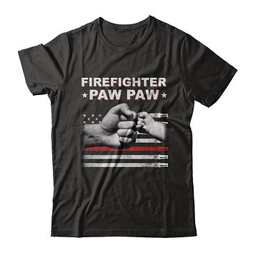 Firefighter Fireman Paw Paw American Flag Fathers Day
