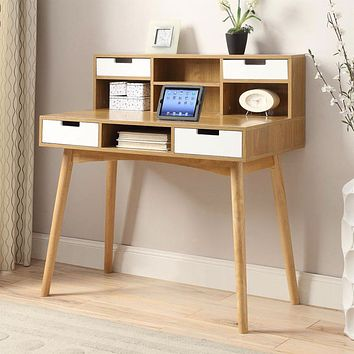 Modern Mid-Century Style Laptop Tablet Desk in White Oak Wood Finish