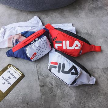 FILA trend fashion canvas printing fitness small square bag waist bag chest bag slung female bag