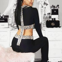 Danica Jewelled Black Hot Cut Jumpsuit