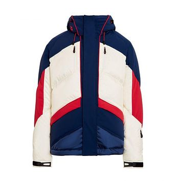 Perfect Moment - Kids' Padded Chevron Snow White Navy Red Jacket