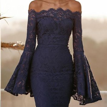 Navy Blue Floral Lace Off Shoulder Backless Flare Sleeve Elegant Party Midi Dress