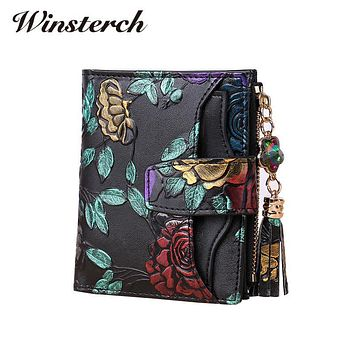 Fashion Floral Genuine Leather Women Wallet Short Tassel Brand Luxury Female Short Clutch Wallet Small Purse High Quality Y0164
