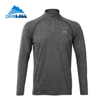 New Elastic Quick Dry Running Cycling Outdoor Sports Long Sleeve T-shirt Men 1/4 Zip Pullover Breathable Hiking Camping T Shirt
