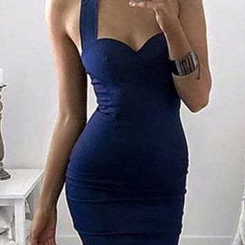 KARINA HALTER MIDI DRESS - NAVY
